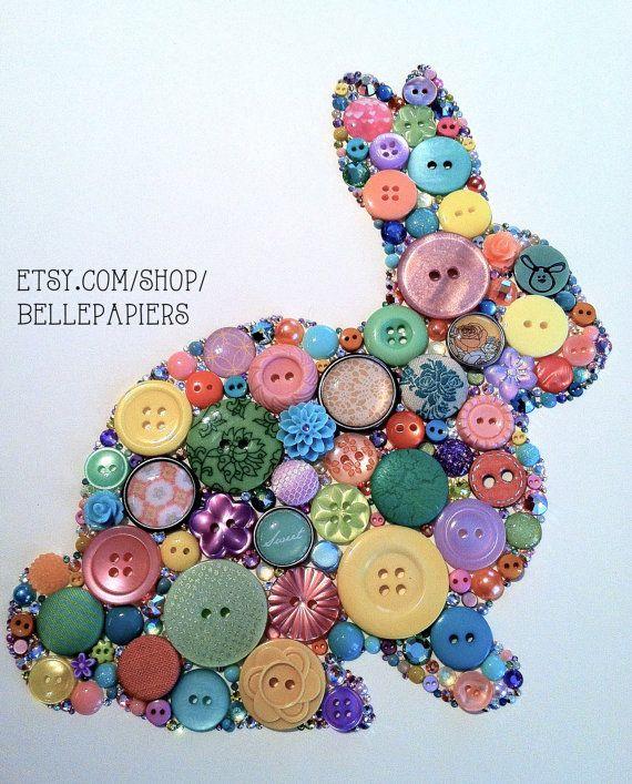 8x10 Button Art Swarovski Rhinestones Bunny Rabbit por BellePapiers