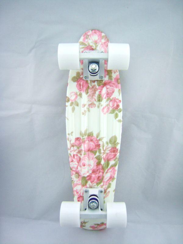 Rainbow Pattern Penny Style Skateboards 22 inch, Flower Board+White Wheel