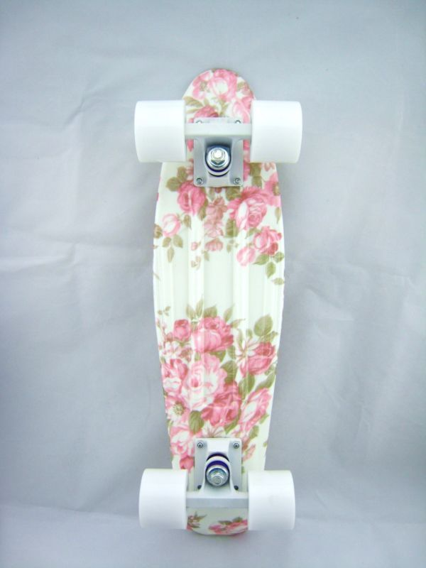 Rainbow Pattern Penny Style Skateboards 22 inch, Flower Board+White Wheel