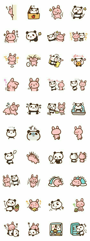 Bunny, rabbit, panda, text, emojis; Kawaii