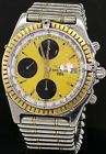 Breitling Chronomat D13047 SS/Gold auto. chronograph men's watch w/ yellow dial