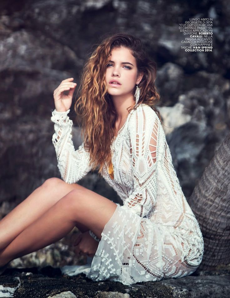 The gorgeous Barbara Palvin wears a white #RobertoCavalli dress SS14 in Marie Claire Italy, May 2014!