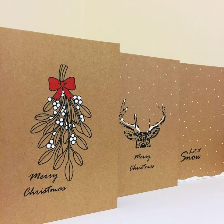 Christmas Card Set, Christmas Cards, Simple Cards, Reindeer, Mistletoe, Handmade Cards, Brown Christmas Cards, Snow Christmas Cards, by JennysDesigns1 on Etsy https://www.etsy.com/uk/listing/471072939/christmas-card-set-christmas-cards