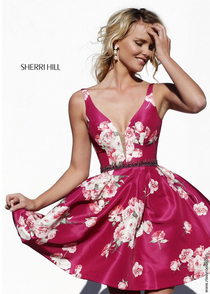 Sherri Hill 32321 Plum Fall Floral Print Short Dress - Summer Weddings, Fall Formals, Homecoming Dance Dresses