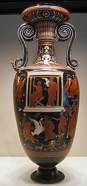 Loutrophoros,  South Italian red figure ware, Apulia, South Italy, 330  BCE  Elegantly decorated with narrative zones: upper  scene of Zeus, Aphrodite, Cupid; lower  scene of seduction of Leda by Zeus as a swan with Hypnos (sleep)  nearby. This type of vase was used for the ritual wedding bath; it was  also a grave marker for unmarried women.   Credits: Ann Raia, 2007.