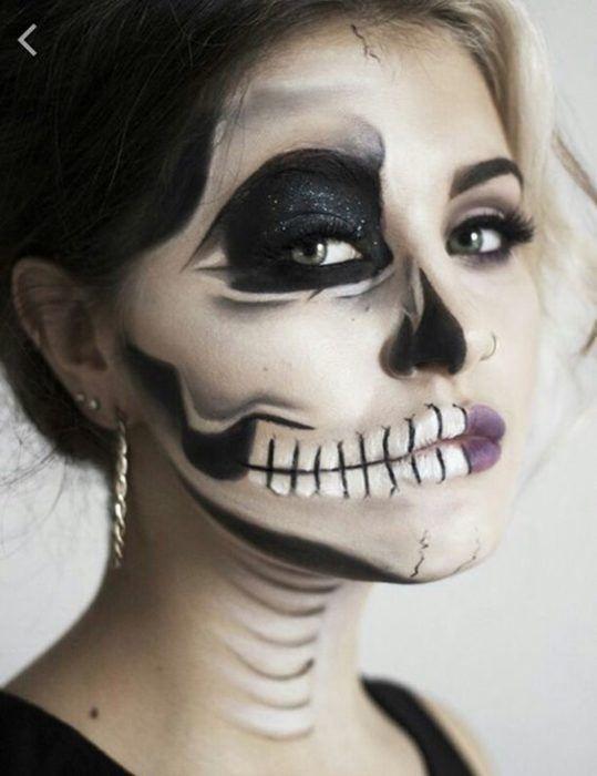 die besten 25 skull makeup tutorial half ideen auf pinterest skelett make up halloween. Black Bedroom Furniture Sets. Home Design Ideas