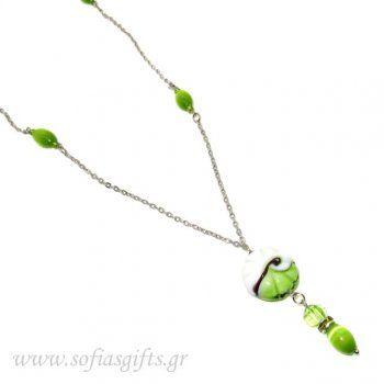 Χειροποίητο μακρύ κολιέ με αλυσίδα , πράσινες ιριδίζοντες πέτρες και στρας - Είδη σπιτιού και χειροποίητες δημιουργίες | Σοφία