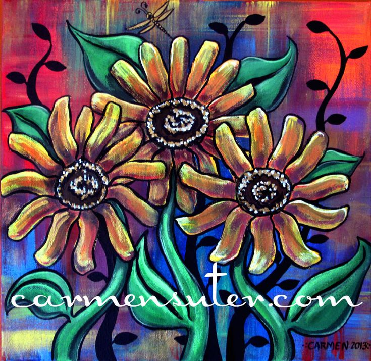 """Funky Sunflowers - 10""""x10""""  Acrylic on Canvas - Painting by Carmen Suter"""