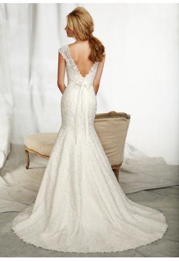 2014 elegante disigner backless zeemeermin kanten trouwjurken