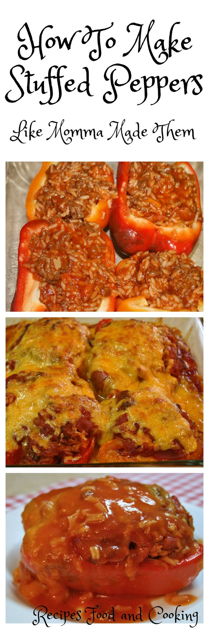 Stuffed Peppers Stuffed Peppers are made with savory spanish rice stuffed in peppers, topped with cheddar cheese.
