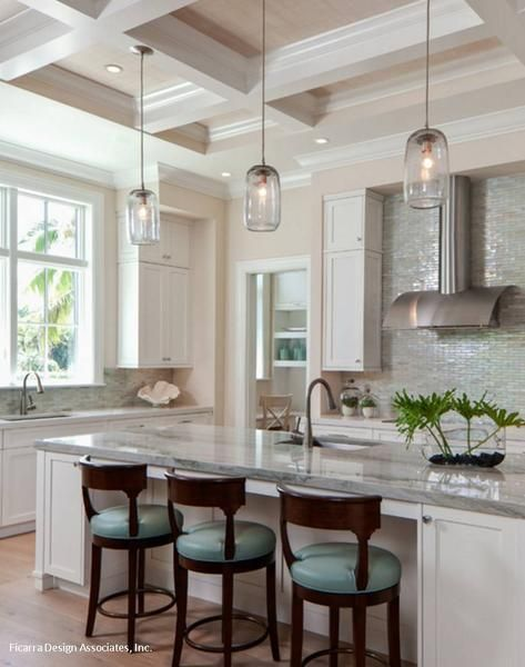White kitchen with pale blue seats