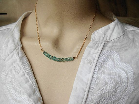 Minimalist 14K Gold Necklace with rare Green by Raquelchelouche