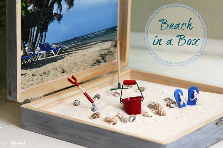 Beach in a box- great idea for a cold winter day when I feel like going to the beach!