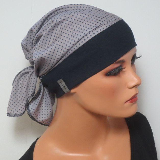 Einzigartige Kopftuchmütze mitt einem Baumwollstirnband in dunkelblau und am Hinterkopf mit einem tollen weichen Baumwolltuch in grau mit dunkelblauen Tupfen Einfach aufsetzen wie eine...