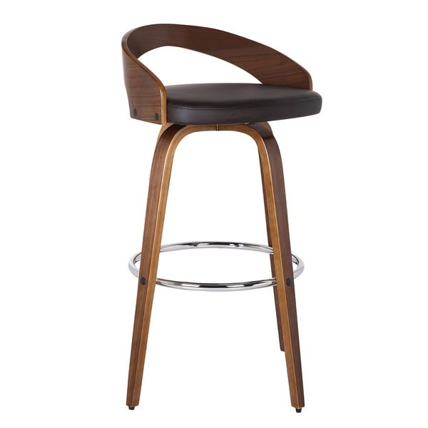 Armen Living Sonia Barstool in Chrome Finish with PU Upholstery and Walnut Back