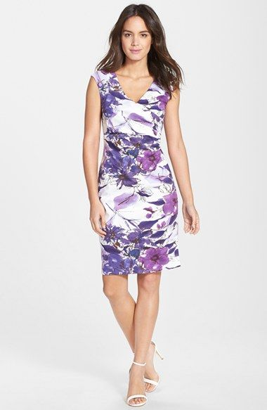 Adrianna Papell Floral Print Cotton Sheath Dress (Regular & Petite) available at #Nordstrom