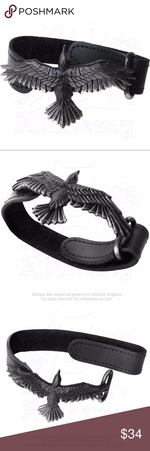 "Raven leather strap bracelet Alchemy Gothic Unisex Black Consort Odin's Raven Bracelet - Alchemy Gothic Leather Strap Bracelet. Unisex design, for men and women. Raven measures 3"" length x 1 3/8"" width. Leather strap measures 8 1/2"" length x 3/4"" width. Handcrafted by ALCHEMY GOTHIC in the United Kingdom. Adjustable Leather Strap Bracelet with velcro fastening. This black leather wrist strap has a velcro-adjustment fastening, supporting a black pewter, spreadeagled raven with highlighted…"