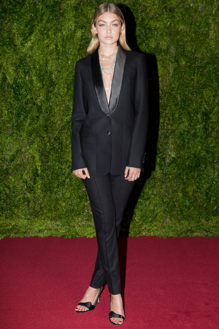Red Carpet Rules!  What to wear to the Tonys, starring Gigi Hadid in Boss tuxedo, Harry Winston necklace, Chopard ring, and Gianvito Rossi sandals;  VOGUE JUNE 7, 2015 CELEBRITY STYLE by ALVARO COLOM and edited by JORDEN BICKHAM
