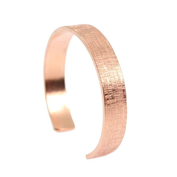 New! Eye-catching 1/2 Inch Wide Linen Copper Cuff  https://www.johnsbrana.com/products/10mm-wide-linen-copper-cuff-bracelet-solid-copper-cuff #CopperJewelry #JohnSBrana