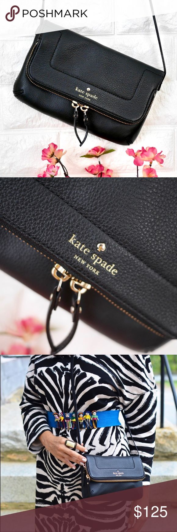"""💖NWOT Kate Spade Mariana Mansfield NWOT. ✔️ No signs of wear. Exterior recently cleaned with leather cleaner. ✔️PRICE FIRM. No trades.  DETAILS: Color: Black Material: Smooth Leather  Dimension: 8.5W x 5H Strap length: 21"""" kate spade Bags Crossbody Bags"""