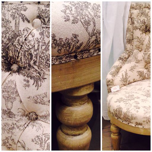 ROMANCE - French printed armchair : Coco Home Style - toile de Jouy print design - upholstered linen fabric