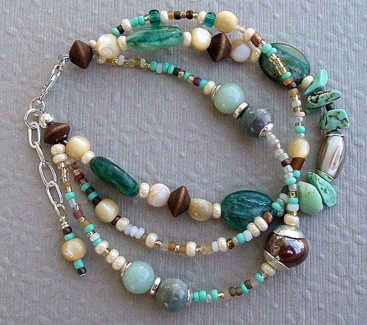 Boho Bracelet, Chunky Bracelet, Rare Gemstone Bracelet. $47.00, via Etsy. LOVE these colors and beads!