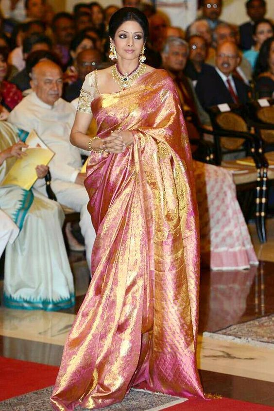 #Sridevi had left everyone awestruck at the #RashtrapatiBhavan's #DurbarHall as she in dignified steps and a stunning #designer #Kanchipuramsaree, walked towards President Honorable #PranabMukherjee to receive the very prestigious #PadmaShri for her outstanding performance in the movie #EnglishVinglish!