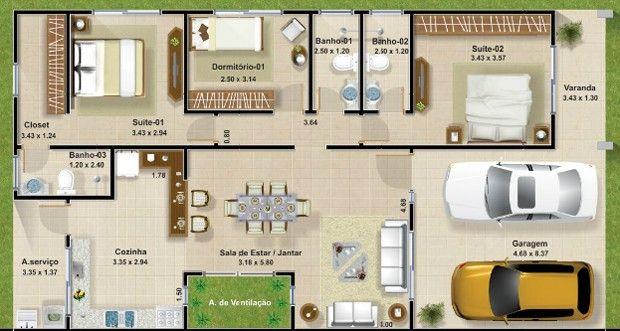 Projeto Casa Com 3 Quartos