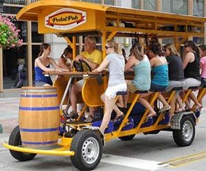 Food trucks are old news, the hottest fad in the mobile food and drink industry is now the pedal pub. The pedal pub is a mobile bar station that is steered by your trusty bartender - don't even think about buying him/her shots - and powered by the drunken power of the patrons. Buy It…
