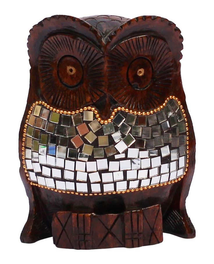 """Bulk Wholesale Hand-Carved 5"""" Eucalyptus Wood Sculpture / Statue of Owl Enhanced with Traditional Style Golden Beads & Mirrors – Antique-Look Home Décor from India"""