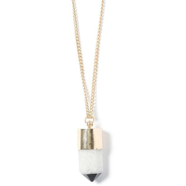TOPMAN Gold Look Semi Precious Shard Necklace ($15) ❤ liked on Polyvore featuring men's fashion, men's jewelry, men's necklaces, white, mens gold necklace, mens white gold necklace and mens yellow gold cross necklace