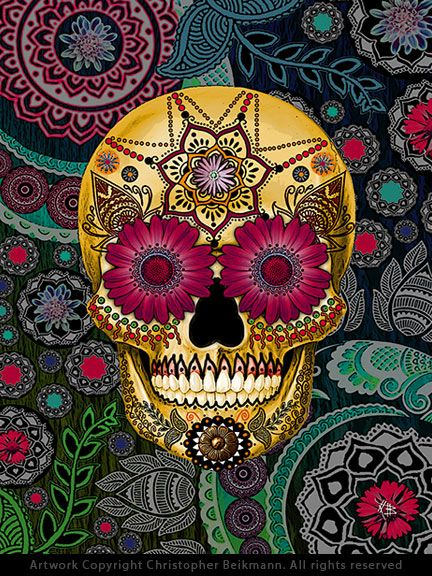This unique and unusual sugar skull artwork features vibrant red and green tones. the pasley skull art is by skull artist Christopher Beikmann