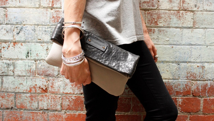 Elise Bridson Leather Clutch in Pebbled Black & Stone.