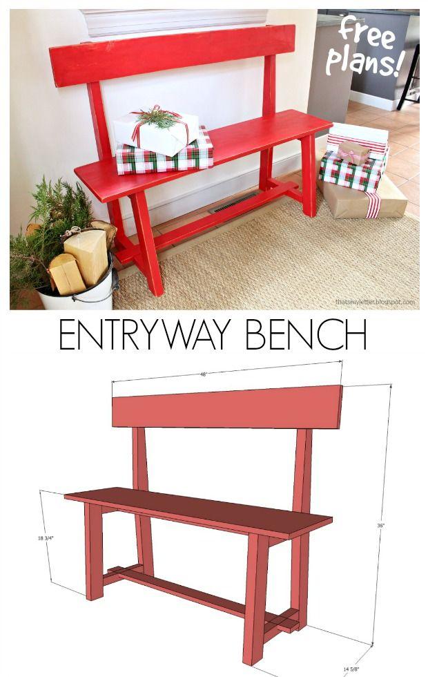 diy entryway bench free plans