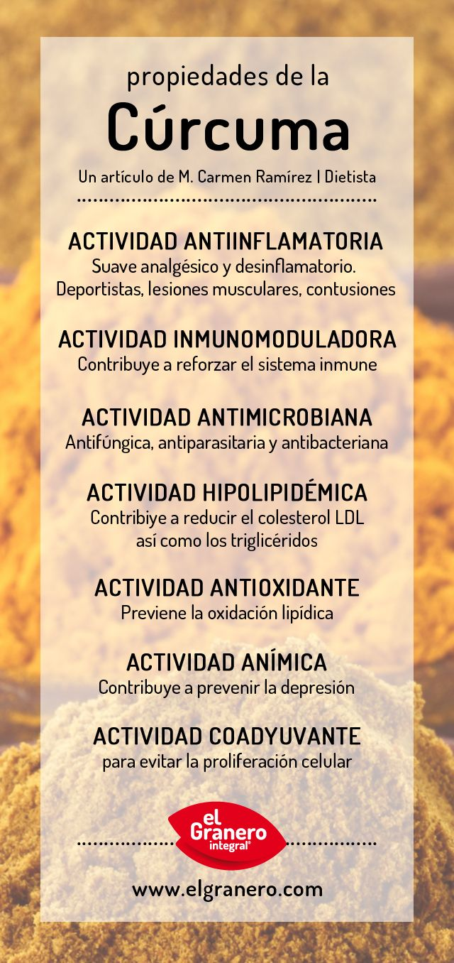 Propiedades de la cúrcuma. #curcuma #propiedades #infografia