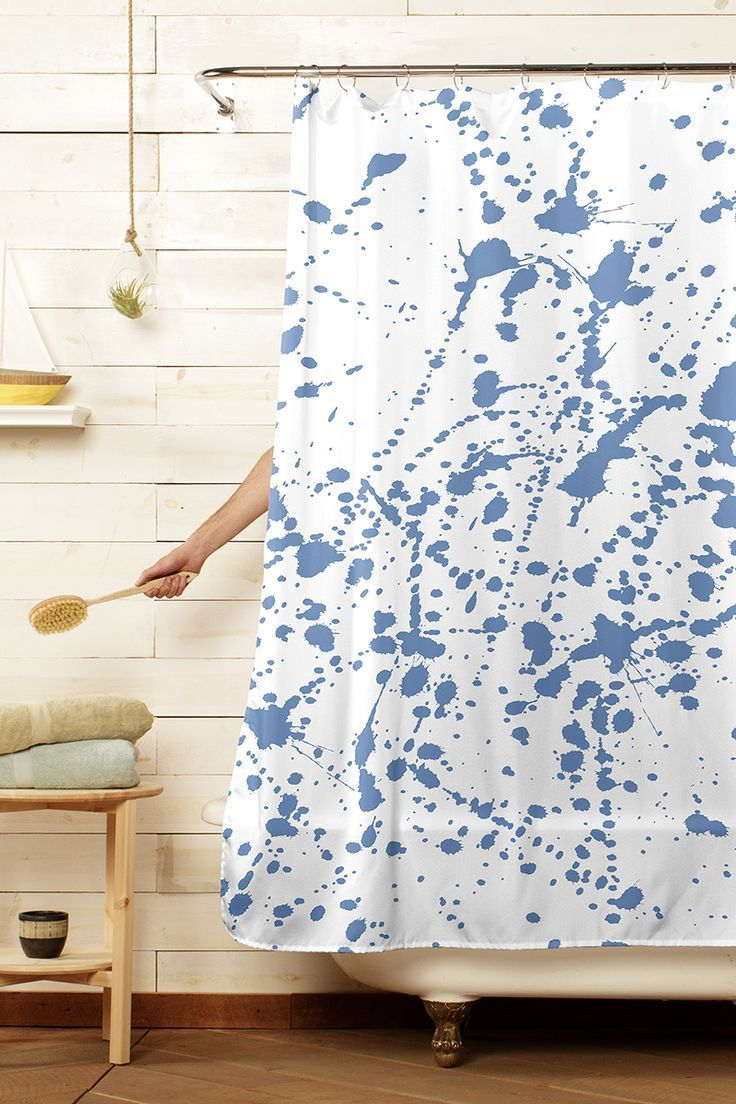 Blue Splat Modern White Bathroom Home Decor Contemporary Shower