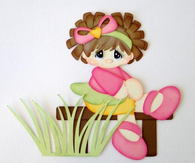 Girl on a Bench Summer Park Paper Piecing PreMade 4 Borders Scrapbook Album