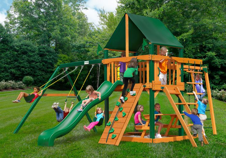 Gorilla Playsets Navigator Swing Set w/ Timber Shield™ and Sunbrella® Canvas Forest Green Canopy (01-0020-TS-2)