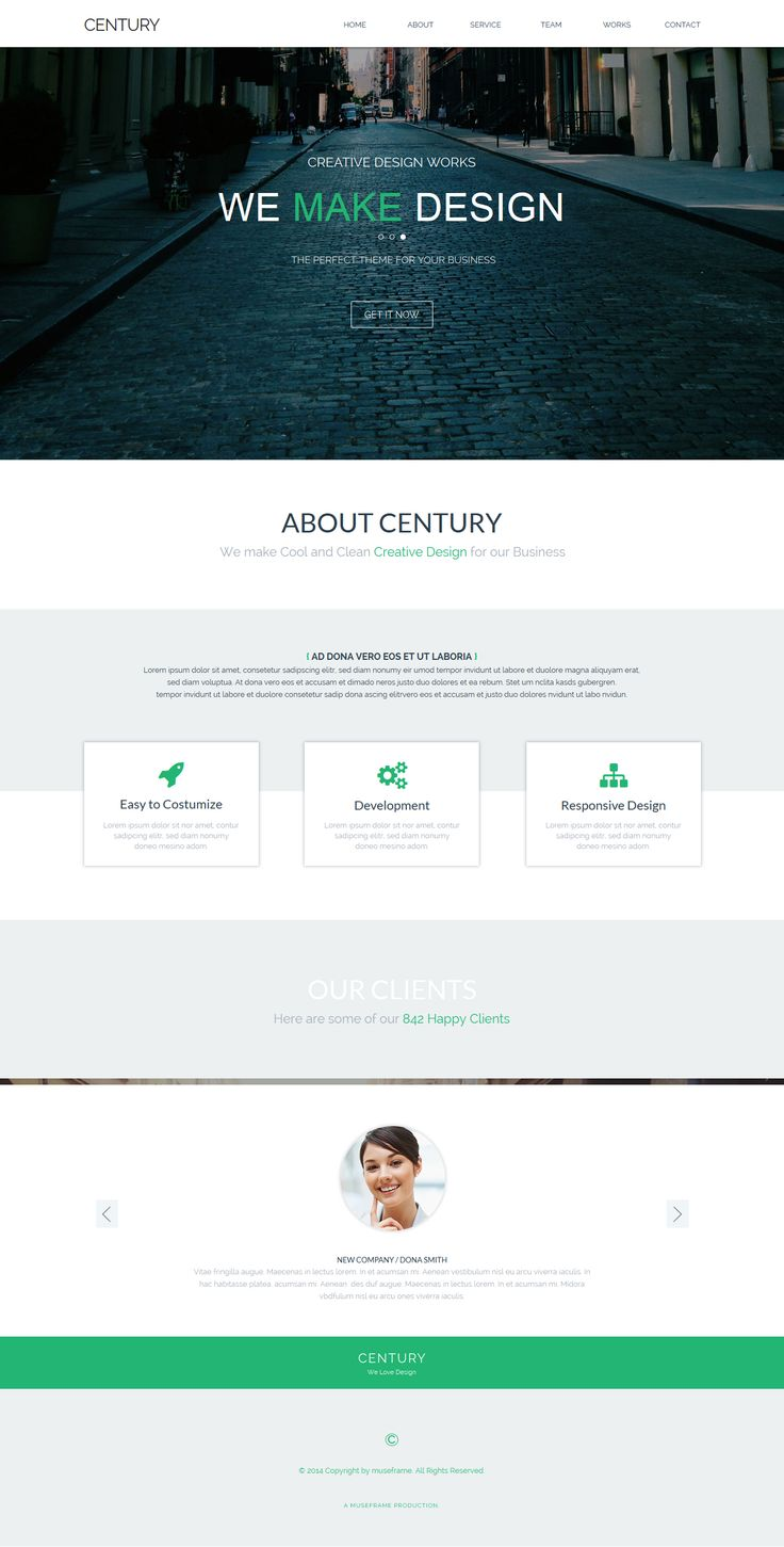 Century is a modern and clean #Adobe #Muse #template designed for #Corporate, #Creative, #Agency or #Multipurpose. To edit this #template with Adobe Muse is very easy! You can change colors, texts or replace the images in a few minutes. Desktop Tablet and Mobile version are included!