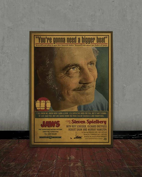 Jaws Steven Spielberg Colored retro classic movie poster