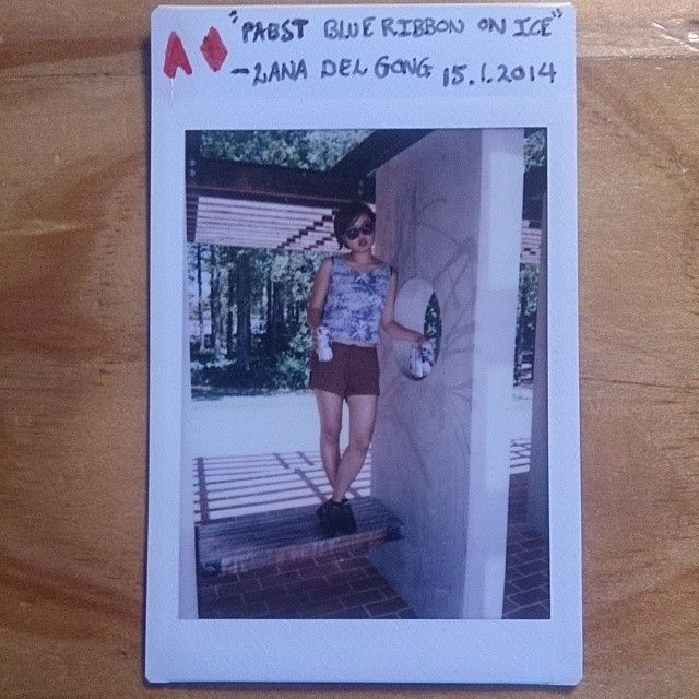 52 cards in a deck // 52 weeks in a year. Gong and I decided to have a Lana Del Rey themed day in the summer. We bought Pabst Blue Ribbon and drank it on ice in Glebe Park. #LanaDelRey #polaroid #photochallenge #photography