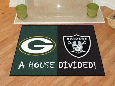"Packers - Raiders House Divided Rug 33.75""x42.5"""