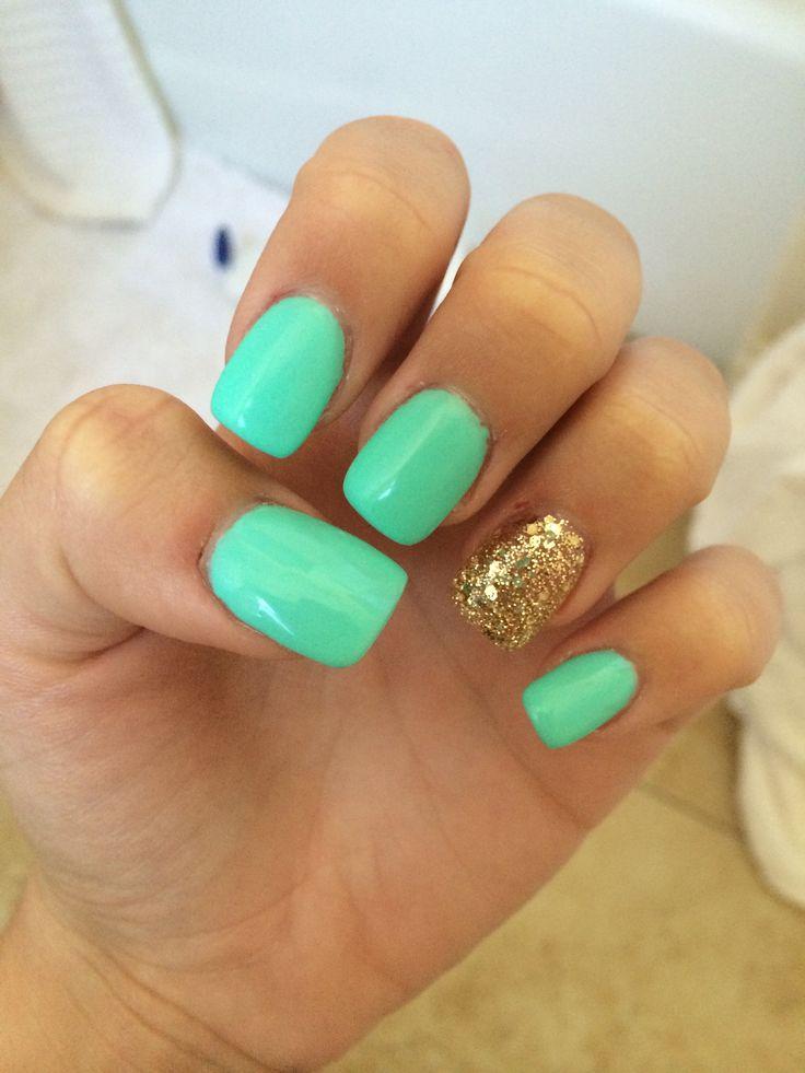 Summer nails  blue and gold acrylics