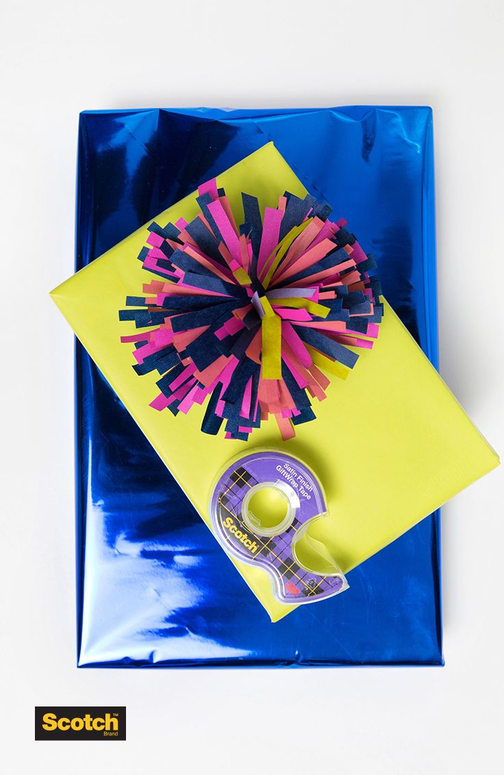 DIY tissue pom to add a little fun flair to your gifts with @scotchbrand