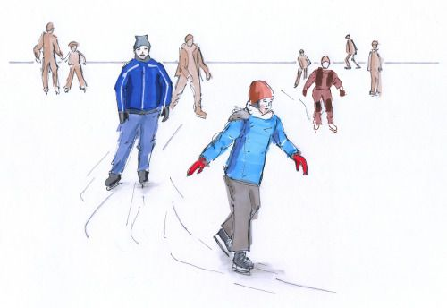 January 7, 2017. Ice skating. Sketch, markers.