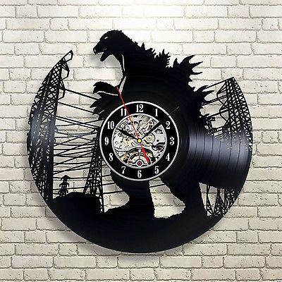 Godzilla Toys Vinyl Recor Clock Monster Figure Wall Arts Decoration Home Design