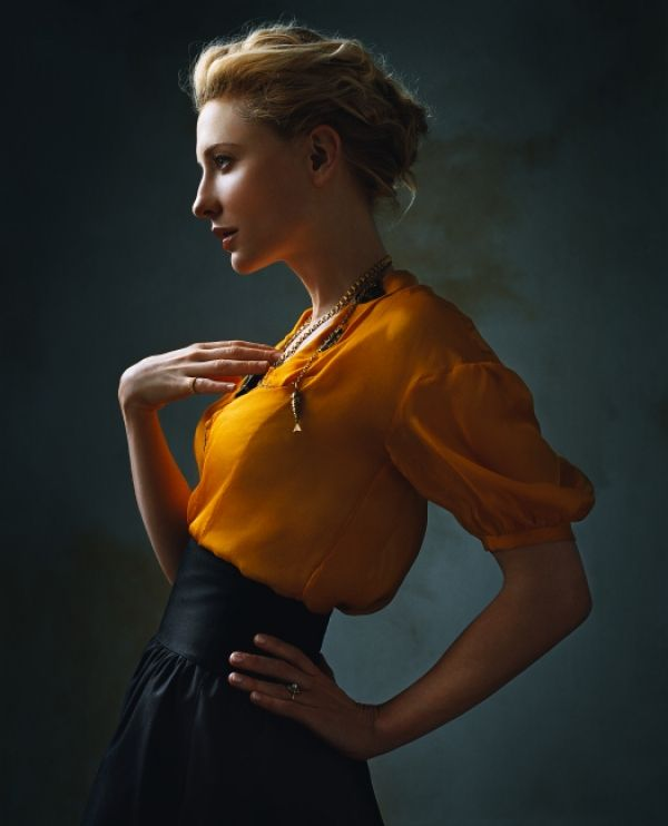 Cate Blanchett ~ Photo by Annie Leibovitz I think something liek this would be relaly nice to highlight flowers/hair, eye makeup if more intense. Winged liner styles? Not sure if talking out of my ass.