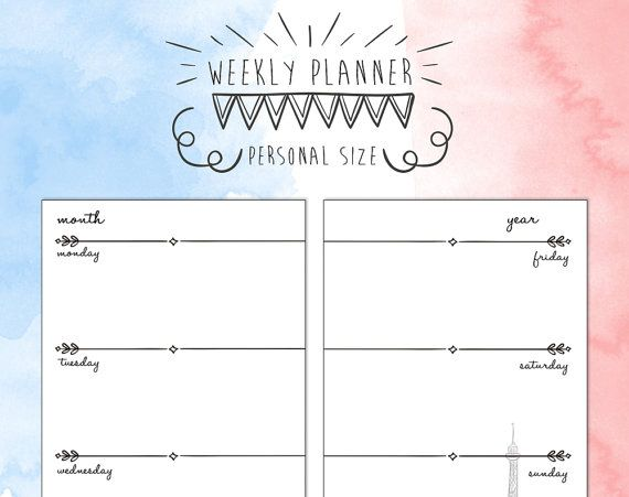 Personal size undated WEEK on TWO PAGES di TheLittlePlannerShop #planner #planneraddict #plannergirl #cute #organize #weeklyplanner #personal #Paris