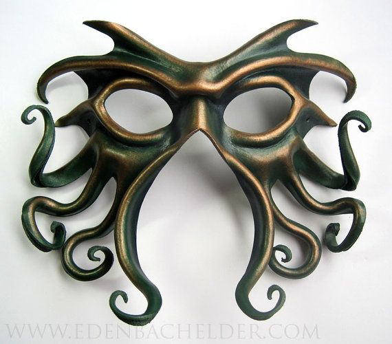 Cthulhu leather mask handpainted in green and antique by edenbee on Etsy. Cool for Lovecraft fans and Poseidon costumes alike.