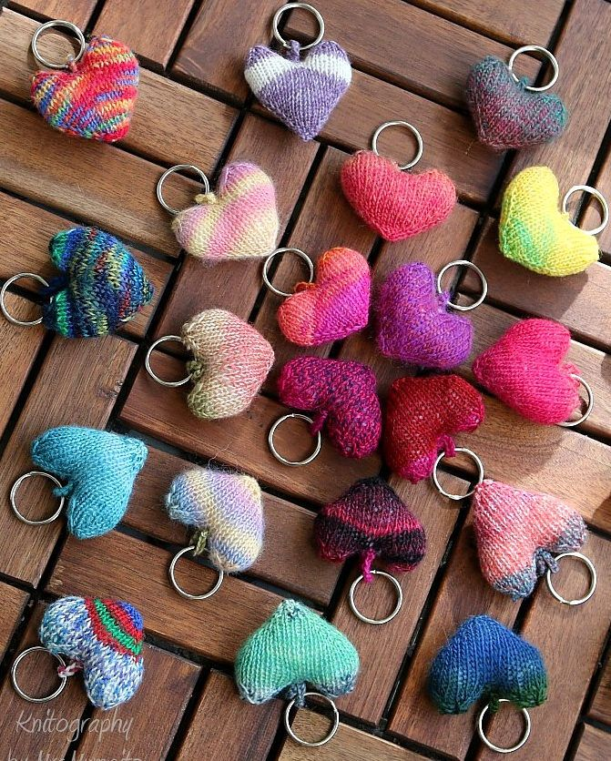 Free Knitting Pattern for Little Hearts - These little hearts make cute keychains, tags, decorations, party favors and more, and are a great use for scrap yarn. Designed by Doreen Blask for Knitography.
